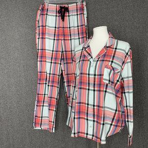 Victorias Secret 2 Piece Pajama Set L Red Plaid
